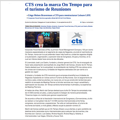 Presenta Holding CTS a On Tempo