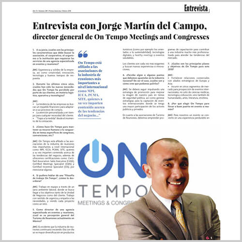 Entrevista con Jorge Martín del Campo, director general de On tempo Meetings and Congresses