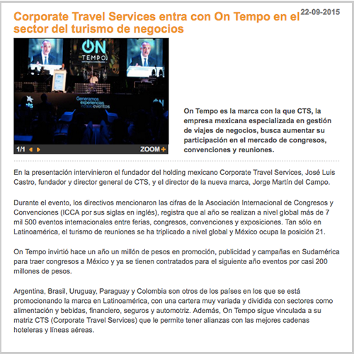 Corporate Travel Services entra con On Tempo en el sector del turismo de negocios